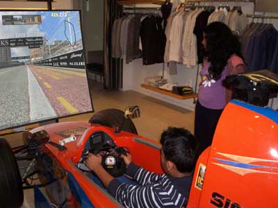 Young folk loved the chance to race in a full simulator free of charge courtesy of SAKS