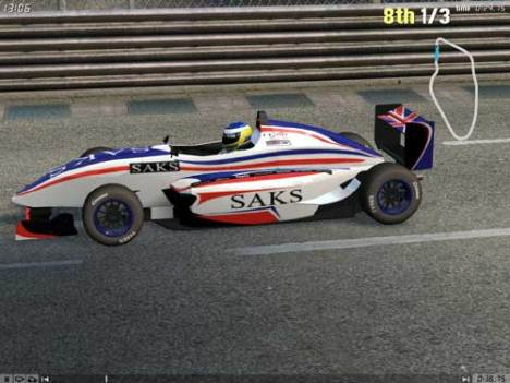 The SAKS sponsored Formula FOX model race car.