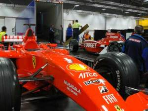 The Scott Dixon Indy 500 car being loaded for display at Honda Newmarket dealership