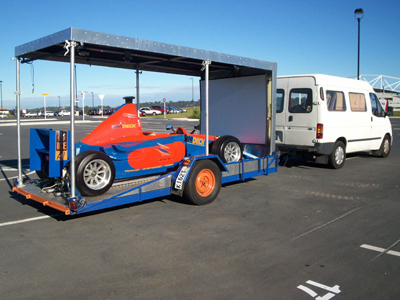 The SimDeck PET250 in a mobile configuration all ready for a night of racing and to raise funds to restore the roof