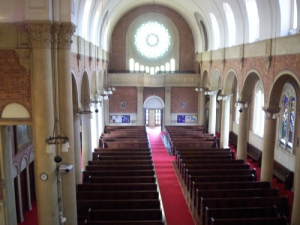 This rare view from up top provides a splendid interior view of this historic church