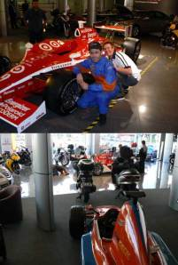 A rare opportunity to pose alongside the winning Indy 500 car that made a brief appearance in NZ, and below the PET250 where we set it up to simulate the virtual version of the car.