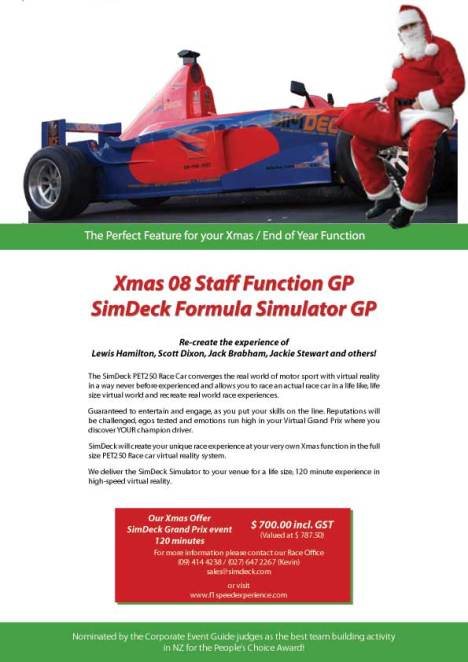 Well the finish line is well in sight and who will take the winners flag? You still have time to book the Simdeck Race Car simulator for you end of year staff Christmas function before the final lap.