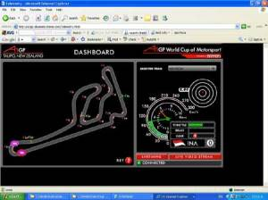 GPS Data locates the car on the track whilst G Force, brakes, gears and speed is displayed in real time over the Internet.