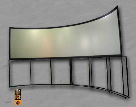120 Deg curved screen with raised pedestal stand for raised height platform simulators.